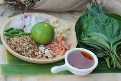 Miang Kham -  leaf wrap appetizer is delicious. Royalty Free Stock Image