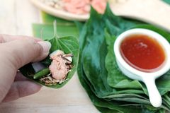 Miang Kham -  leaf wrap appetizer is delicious. Royalty Free Stock Photos