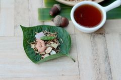 Miang Kham - liścia opakunku zakąska jest wyśmienicie Fotografia Royalty Free