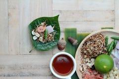 Miang Kham - liścia opakunku zakąska jest wyśmienicie Obraz Royalty Free