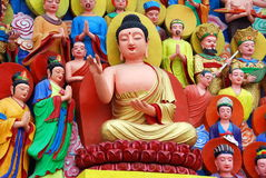 Mianyang, China: Buddha Tableaux at Temple Royalty Free Stock Photography