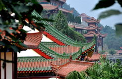 Mianyang, China: Sheng Shui Buddhist Temple. View of hillside pavilions at the Sheng Shui Temple, built along a terraced hillside, parts of which date to the Stock Images