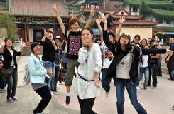 Mianyang, China: Students at Sheng Shui Temple Royalty Free Stock Photos