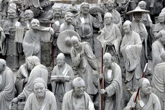 Mianyang, China: Tableaux Sculptures at Temple. As yet unpainted sculptures depict a tableaux of scenes from the life of Buddha at the historic Sheng Shui Stock Photos