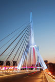Mianyang Sanjiang un puente en el tiempo de la tarde Imagen de archivo