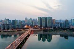 Mianyang stad i Sichuan Kina royaltyfri foto