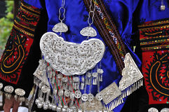 The miao clothing and silver adornments stock images