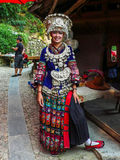 Miao Girl i Guizhou Miao Village Arkivfoto