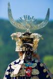 Miao Minority Woman Traditional Headdress-Achtergedeelte royalty-vrije stock afbeelding