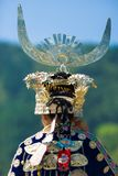 Miao Minority Woman Traditional Headdress Rear. Xijiang, China - September 15, 2007: Rear view of ethnic minority Miao woman in traditional festival clothes and royalty free stock image