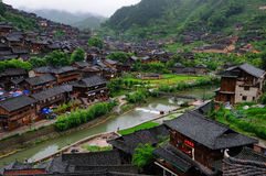 The Miao national minority people live place. East Chinese Guizhou Province MIAO stronghold housing house Photo taken on: May 5th, 2012 royalty free stock photo