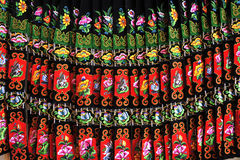Miao nationality skirt. Close-up of a Miao nationality skirt,in Leishan county, Guizhou province of China stock image