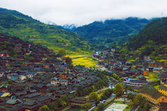 The miao scenery. China guizhou miao village, of the house, the beautiful terrace, full of green vegetation, beautiful rural scenery royalty free stock photos