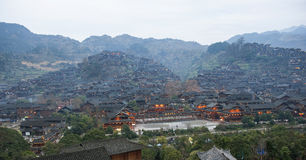 Miao village. The xijiang qianhu (thousands of) miao village in guizhou province of China stock image
