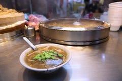 Miaokou Night Market. Taiwan night food market - Miaokou Night Market in Keelung. Crab soup stock photography