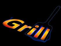 Miarka dla piec na grillu z płonącym słowo grilla grilla logem, menu, Fotografia Royalty Free