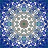 Miarowego round kwiecistego ornamentu zmroku - błękitne, błękitni szarość, brown, biały, ozdobny i marzycielski, ilustracji