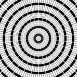 Miarowy czarny i biały fryzujący wzór wyrównujący radially Halftone linii pierścionku ilustracja w fractal abstrakcyjne royalty ilustracja