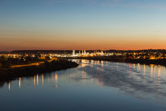 Miast światła Nad Missouri rzeką Obraz Royalty Free