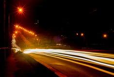 Miast światła przy nocą. Zdjęcia Stock