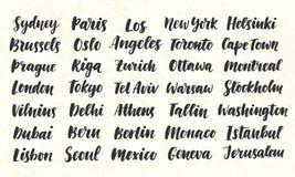 Miast imion Szczotkarskiej kaligrafii ręka Pisać Duży set Obraz Royalty Free