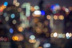 Miasta światła plamy bokeh, defocused tło Zdjęcie Stock