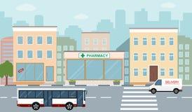 Miasta życia ilustracja z domowymi fasadami, drogą i innymi miastowymi szczegółami, Fotografia Stock