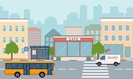 Miasta życia ilustracja z domowymi fasadami, drogą i innymi miastowymi szczegółami, Zdjęcie Stock