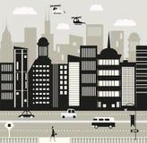 Miasta życie w czarny i biały Obraz Royalty Free