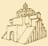 miasta antyczny wejście zakazuje złotego Kiev średniowiecznego Ukraine Wektorowy nakreślenie Obraz Stock
