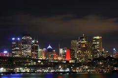 miasta chmurna świateł noc Sydney Zdjęcie Royalty Free