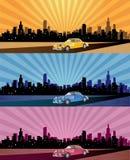 miasta chodnikowa panoramy sieć royalty ilustracja