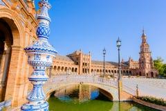 miasta De Espana sławnego punkt zwrotny stary plac Sevilla Spain Zdjęcie Royalty Free