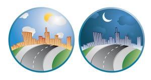 miasta dzień noc royalty ilustracja
