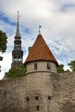 miasta Estonia ostrości średniowieczna część Tallinn góruje ścianę Tallinn estonia Fotografia Royalty Free