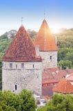 miasta Estonia ostrości średniowieczna część Tallinn góruje ścianę Tallinn estonia Obraz Stock