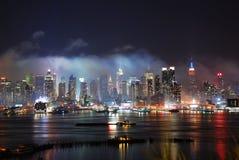 miasta fajerwerków Manhattan nowy przedstawienie York zdjęcie royalty free