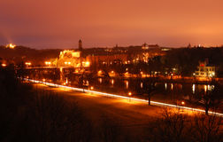 miasta Germany Halle noc obrazy stock