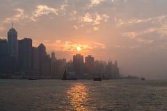 miasta Hong kong linia horyzontu zdjęcie stock
