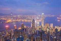 miasta Hong kong noc Obrazy Royalty Free