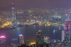 miasta Hong kong noc Zdjęcia Stock