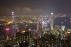 miasta Hong kong noc Zdjęcia Royalty Free