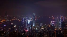 miasta Hongkong noc linia horyzontu widok Fotografia Stock