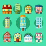 Miasta i miasteczka budynki ilustracja wektor