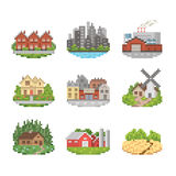 Miasta I miasteczka ikony set Obraz Royalty Free