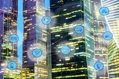 Miasta i radia sieć komunikacyjna Obrazy Royalty Free
