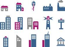 miasta ikony set Obrazy Royalty Free