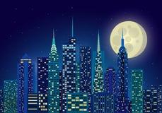 miasta ilustracyjne nocnego nieba gwiazdy ilustracja wektor