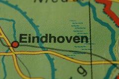 Miasta imię EINDHOVEN na mapie Obraz Stock