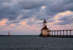miasta Indiana latarnia morska Michigan usa obrazy stock